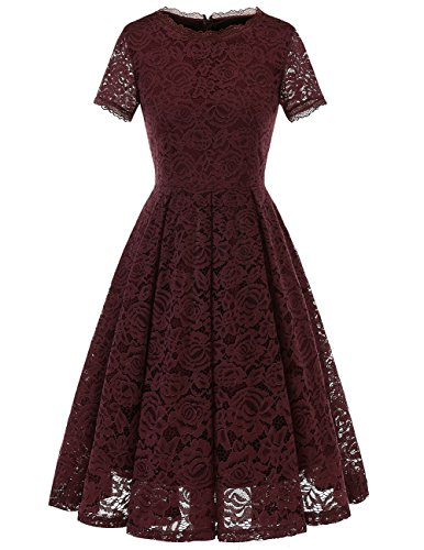 (DRESSTELLS Women's Bridesmaid Vintage Tea Dress Floral Lace Cocktail Formal Swing Dress Burgundy S)