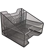 Halter Office Desk File Organizer, File Organizer, Multiple Functional Compartments, Durable Stainless Steel Mesh, Great for Office and Home (5 Compartment Mesh Organizer)