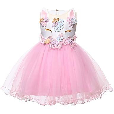 LZH Niña Disfraz de Unicornio Vestido de Princesa Tutu Disfraces de Cumpleaños Vestido del Arco Iris