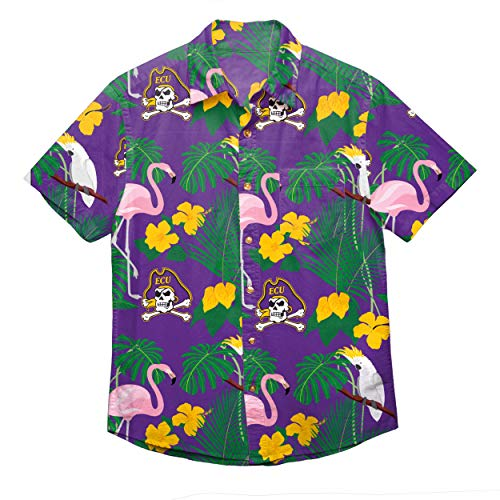 - NCAA East Carolina Pirates Foco Floral Button Up Shirt, Team Color, XL