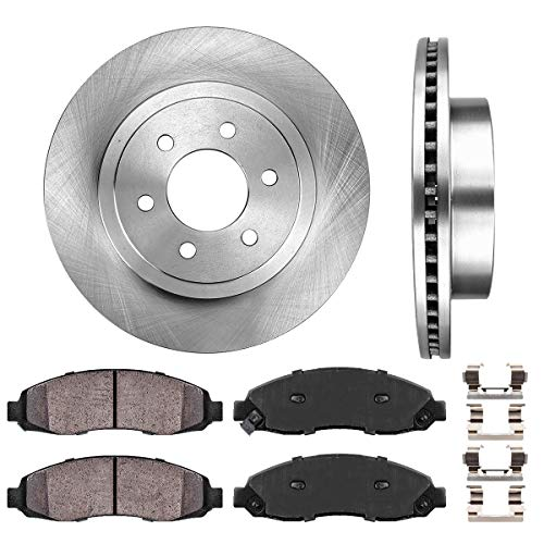 FRONT 308 mm Premium OE 6 Lug [2] Brake Disc Rotors + [4] Ceramic Brake Pads + Clips
