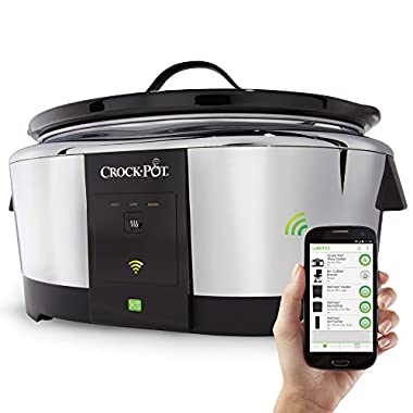 Crock-Pot 6-Quart Wemo Smart Wifi-Enabled Slow Cooker, Stainless Steel, SCCPWM600-V2