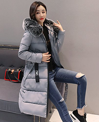Invernale Ladies Giacca Coat Bigood Grigia Slimming Thick Down Parka Women Lunga zTTYqw5