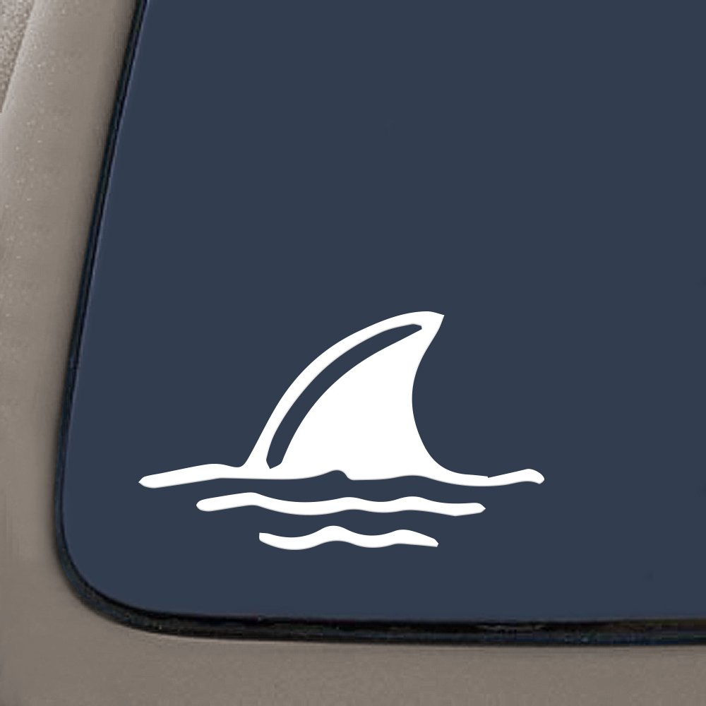 "NI161 Shark Fin in Water- Die Cut Vinyl Window Decal/sticker for Car or Truck 3.5""x6"""