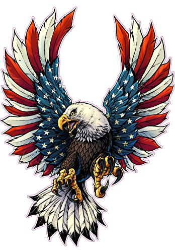 Screaming American Flag Bald Eagle with Black Tips Large Decal is 12.0 in size from the United States