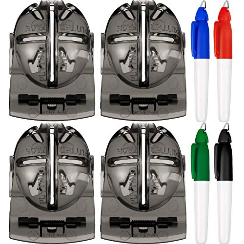Tatuo 4 Pieces Golf Ball Alignment Tool Liner Ball Marking Clip and 4 Pieces Golf Ball Marker Pen (Grey) (Ball Golf Pen Marker)