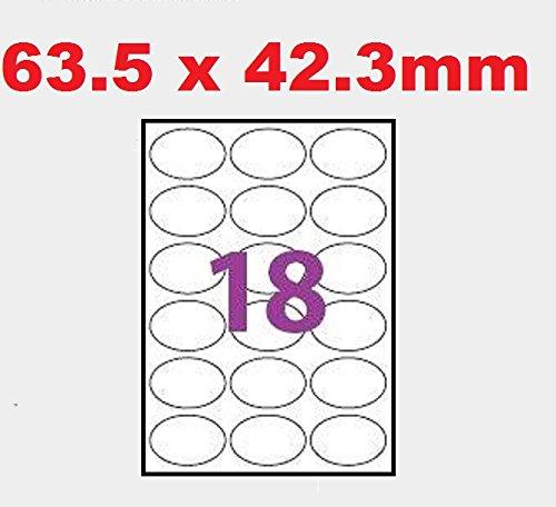 per stampanti laser ea getto dinchiostro 20 fogli di 18 etichette ovali 63,5 x 42,3 mm = 360 etichette Bianco opaco fogli A4 autoadesivi Codice UGE18OV1 Codice software L7101