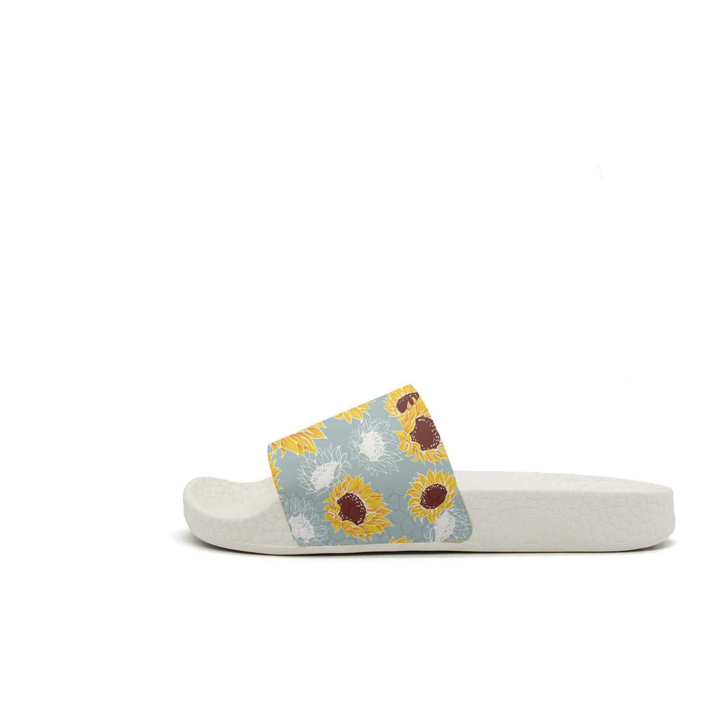 Man Slipper Gray Yellow Mexican Kansas Sunflowers Stylish Lightweighted Open Toe Flat Bathroom Sandal