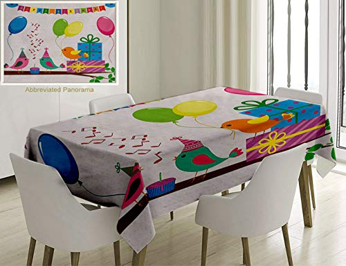 Unique Custom Cotton And Linen Blend Tablecloth Birthday Decorations For Kids Singing Birds Happy Birthday Song Flags Cone Hats Party Cake MulticolorTablecovers For Rectangle Tables, 78 x 54 -