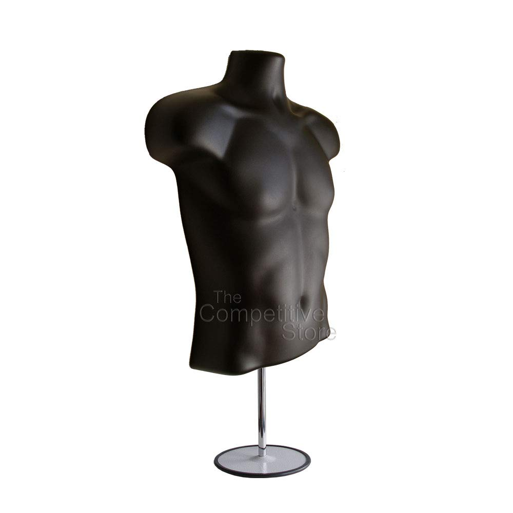4-Pack Male Mannequin Torso, Dress Form Hollow Back Body Tshirt Display, w/Stand for Counter by EZ-Mannequins for Craft Shows, Photos or Design, Easy to Assemble and Store, S-M Clothing Sizes, Black. by EZ-Mannequins (Image #5)