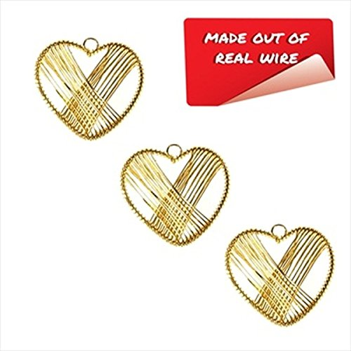 Religious Collection Fancy Metal Gold Hearts Wire Charms 1 1/4 Inch - pack of 12 ()