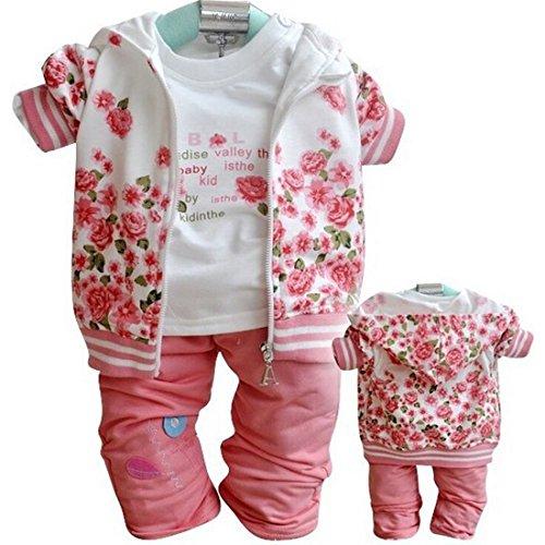 3Pcs Baby Kids Girls Tops +T shirt + Pants Set Girls Peony Autumn Suit Outfits