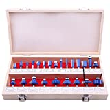 LU&MN Carbide Tipped Router Bit Set (24 PCS) with 1/4'' Shank Wood Milling Saw Cutter, Multi-Purpose (Woodworking Tools for Home Improvement and DIY)
