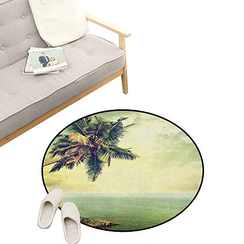 - Hawaiian Round Rug ,Palm Tree Rocky Shore Caribbean Mist Traveling Resort Scenic, Flannel Microfiber Non-Slip Soft Absorbent 39