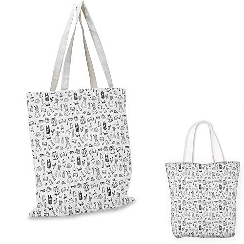 Heels and Dresses canvas shoulder bag Female Fashion Themed Pattern Sketch Cartoon Style Doodle Garments canvas lunch bag Black and White. - Dress Double Gi Zip