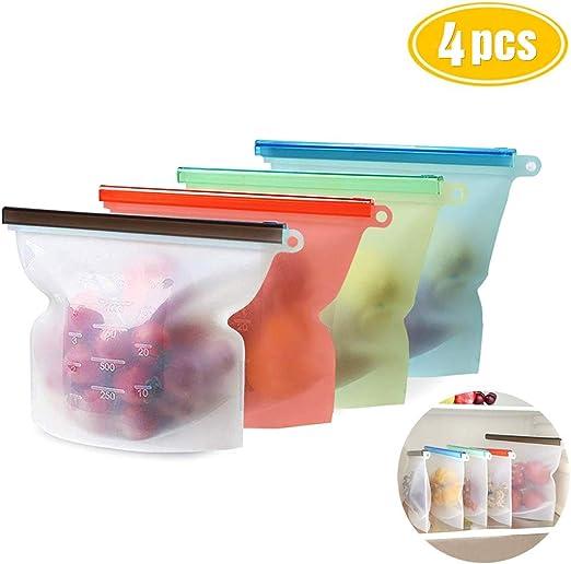 vapor Set de 4 Conservaci/ón de Alimentos de silicona reutilizables bolsa de almacenamiento cierre herm/ético recipiente de almacenamiento de alimentos cocina vers/átil bolsa para congelar
