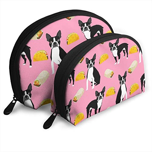 HJGeO Boston Terrier Tacos, Food, Cosmetic Bags,Women Travel Make Up Cosmetic Pouch Bag Clutch Handbag Casual Purse
