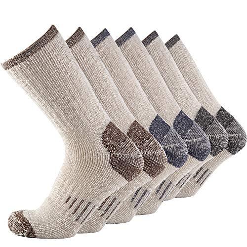 (Mens 1 2 3 4 Pair Pack Merino Wool Knitting Warm Wool Casual Winter Hiker Crew Cushion Socks Arctic Heavyweight (BLACK+NAVY+BROWN))
