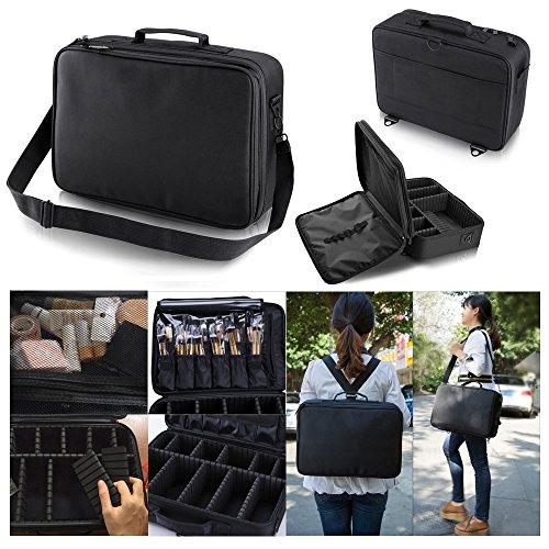Hotrose Professhional Large Space Makeup Brush Bag - Cosmetic Artist Organizer Kit - Handle Shoulder Bag - Travel Box (Large) by Hotrose® (Image #4)