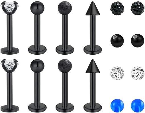 Labret acier noir avec boule