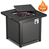 TACKLIFE Gas Fire Table, 28 inch 50,000 BTU Auto-Ignition Outdoor Propane Gas Fire Pit Table with Cover, CSA Certification Approval and Strong Striped Steel Tabletop (Square Black)