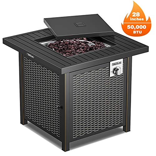 TACKLIFE Propane Fire Pit Table, Outdoor Companion, 28 Inch 50,000 BTU Auto-Ignition Gas Fire Pit Table with Cover, CSA Certification and Strong Striped Steel Surface, as Table in Summer, Stove in Win (Stone Patio Covered)