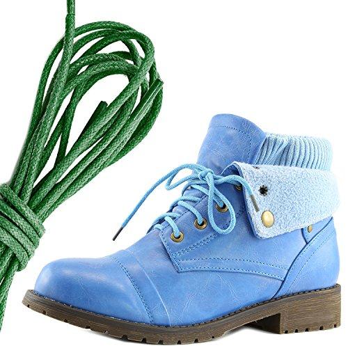 Dailyshoes Womens Boot Style Lace Up Maglione Stivaletto Alla Caviglia Con Taschino Per Porta Carte Di Credito Tasca Porta Soldi, Verde Scuro Blu Pu