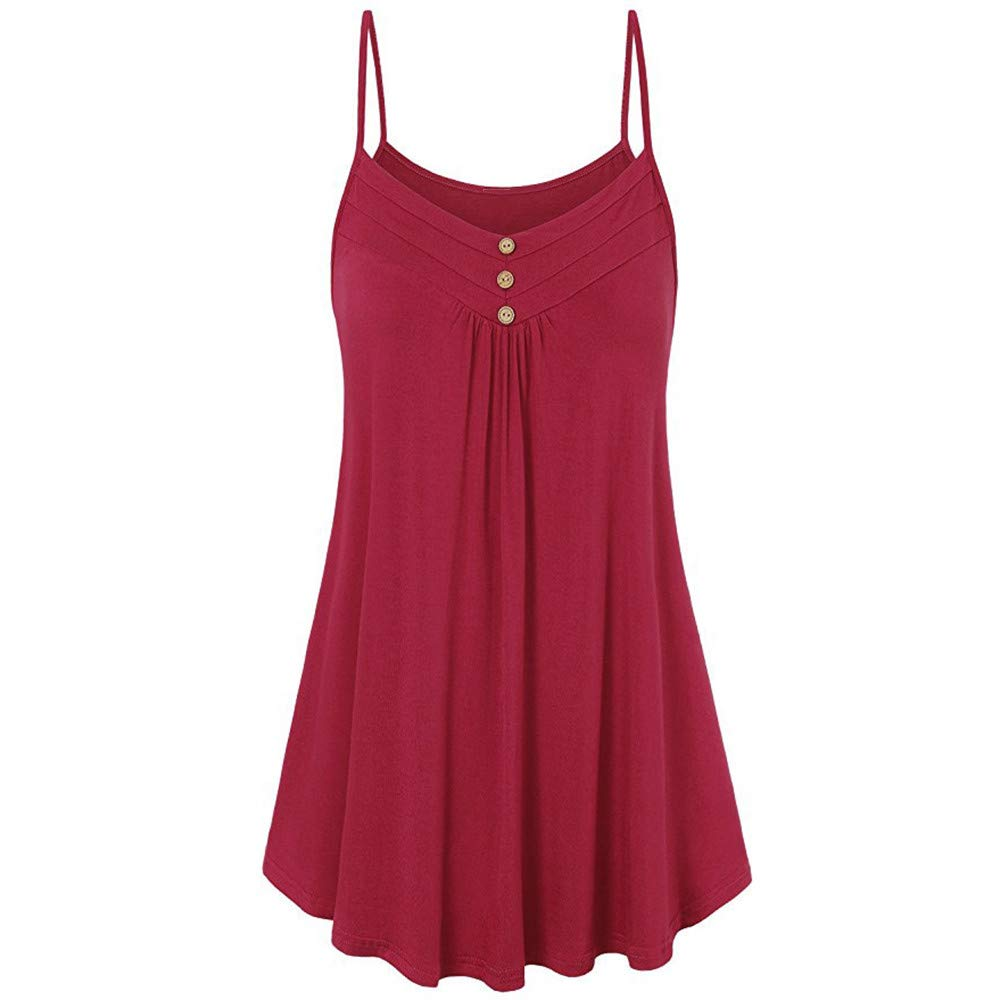 iLUGU Women Summer Loose Button Sleeveless V Neck Cami Tank Vest Top Blouse Polo for Square Neck Red