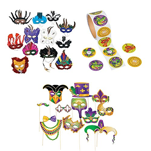 Masquerade Costume Bundle Kit (25 Items): Includes 12 Piece Mardi Gras Party Photo Props, 12 Piece Deluxe Feather Mask, and 1 Roll Mardi Gras Stickers.Good for Masquerade Party (Ideas For Masquerade Masks)