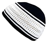Muslim Bookmark Stretchy Elastic Beanie Kufi Skull Cap Hats Featuring Cool Designs and Stripes (White & Black w/Gray Stripes)