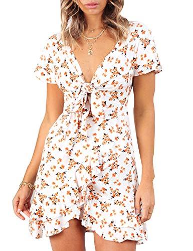 Relipop Women's Dress Floral V Neck Tie Front Knot Ruffle Hem Dresses White ()