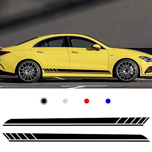 (Autotoper Car Side Door Skirt Strip Sticker Decals For BWM E90 E60 Cadillac Audi A4 B8 A5 Mercedes Black Vinyl Car Decal Accessories-styling 1 Pair(L+R))