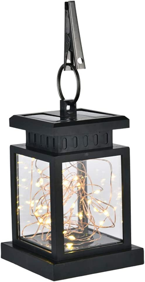 Farol solar camino jardín luz LED estrella decoración de césped noche recargable automático colgante con clip impermeable