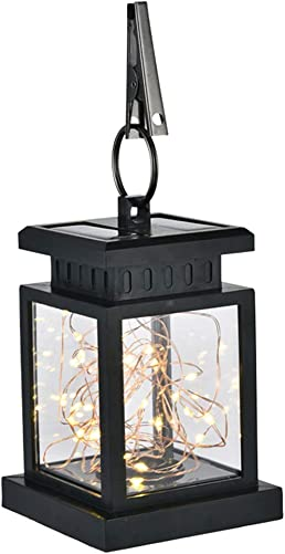LED Solar Lantern, Outdoor Garden Decorative Flame Star Hanging Lantern Light, Auto On Off IP65 Waterproof Portable Garden Landscape Lamp for Pathway Yard Patio Tree Decor