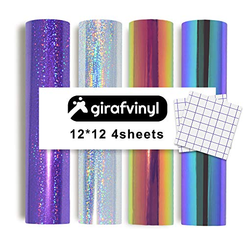 Girafvinyl Glitter Dot/Hologram Opal Vinyl Sheets 4 Sheets 4 Colors Select Pack Self Adhesive Vinyl Sheets Bonus 2 Standard Grid Transfer Paper for Craft Cutters DIY Project- Per sheet/12x12 inch