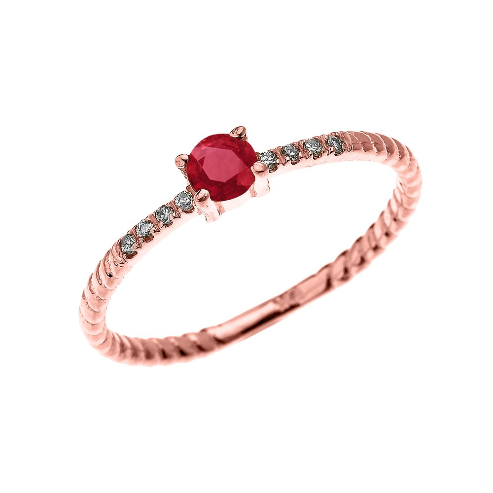10k Rose Gold Dainty Solitaire Ruby and Diamond Rope Design Engagement/Proposal/Stackable Ring(Size 8)
