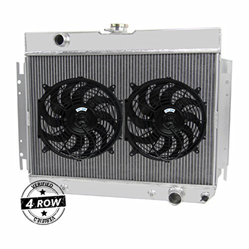 Chevy El Camino Radiator Core (Primecooling 4 Row Core Aluminum Radiator +Fan (12 Inches Dia.) Kits for Chevy Bel-Air, Biscayne,El Camino ,More Models L6 /V8 Engine 1963-68)