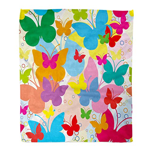 Emvency Throw Blanket Warm Cozy Print Flannel Blue Girly Vivid with Butterflies Colorful Butterfly Summer Holliday Animal Comfortable Soft for Bed Sofa and Couch 60x80 Inches ()