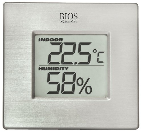 Thermor Bios Indoor Hygrometer with Thermometer (Aluminum Face, 3-Inch x 3.125-Inch x 1.5-Inch)