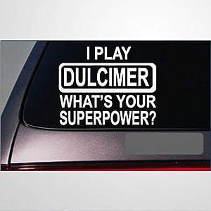 Dulcimer Superpower auto Sticker,Vinyl Car Decal,Decor for Window,Bumper,Laptop,Walls,Computer,Tumbler,Mug,Cup,Phone,Truck,Car Accessories