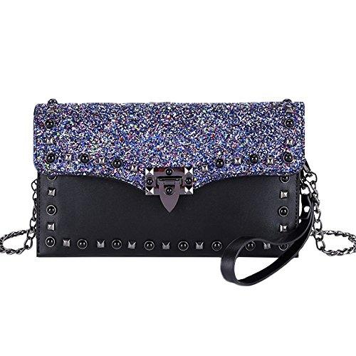 Shoulder Leisure Bag Messenger Simple Envelope Lock Bag Rivets Sequins Retro Pu Black PqPY08w