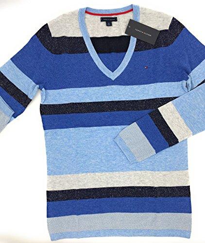 Tommy Hilfiger Pullover blau-hellblau-anthrazit gestreift, Metalliceffekt, V -Ausschnitt,