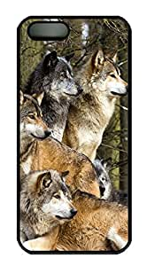 iPhone 5 5S Case Wolves PC Custom iPhone 5 5S Case Cover Black