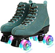 Cowhide Roller Skates, High-Top Shoes Double-Row Design, Classic Premium Roller Skates Four Wheels Roller Skat
