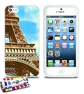 Carcasa Flexible Ultra-Slim APPLE IPHONE 5S / IPHONE SE de exclusivo motivo [Eiffel zoom] [Blanca] de MUZZANO  + ESTILETE y PAÑO MUZZANO REGALADOS - La Protección Antigolpes ULTIMA, ELEGANTE Y DURADERA para su APPLE IPHONE 5S / IPHONE SE