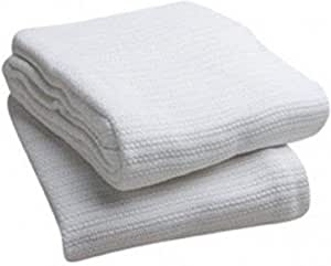 Elivo 100 Cotton Hospital Thermal Blankets Open Weave Cotton Blanket Breathable And Prevent Overheating Soft Comfortable And Warm Hand And Machine Washable 1 Pack Home Kitchen