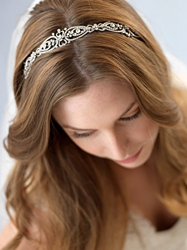 USABride Vintage-Style Scrolling Bridal Headband with Rhinestones 3215 by USABride