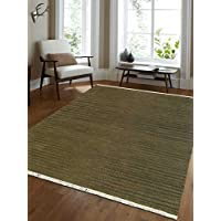 Rugsotic Carpets Hand Woven Kelim Woolen 8 x 10 Contemporary Area Rug Olive D00111 With Fringe