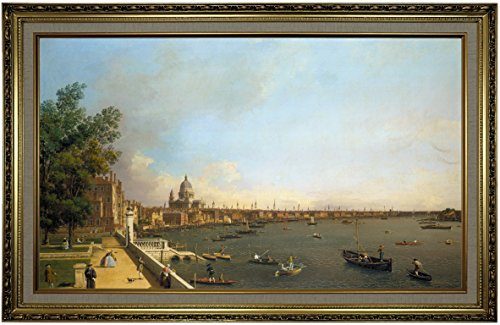 1750 Framed Canvas - Historic Art Gallery London: The Thames from Somerset House Terrace Towards The City 1750 by Canaletto Framed Canvas Print, Size 19x32, Gold