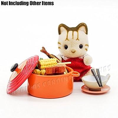 Odoria 1:12 Miniature Orange Metal Soup Tureen with Lid Dollhouse Kitchen Accessories: Toys & Games